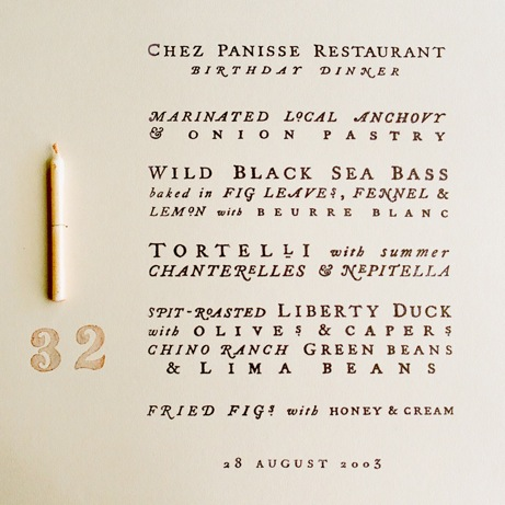 cynthia warren chez panisse birthday party menu | simple pretty