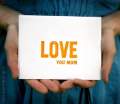 red bird ink love you mom; letterpressed flat card | simple pretty