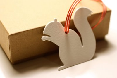 missing q press die-cut squirrel tag | simple pretty