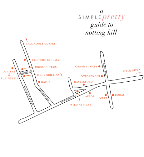 map for simple pretty guide to notting hill | Simple pretty