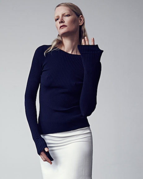 protagonist spring 2015, look 15 // extended sleeve ribbed top + side slit skirt | simple pretty