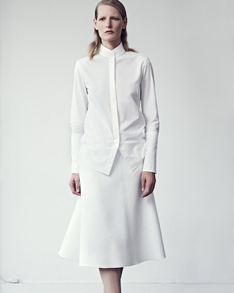 protagonist spring 2015, look 2 // collar shirt + flare skirt | simple pretty