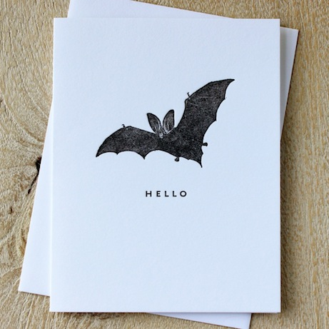 sesame letterpress 'little bat' hello card | simple pretty