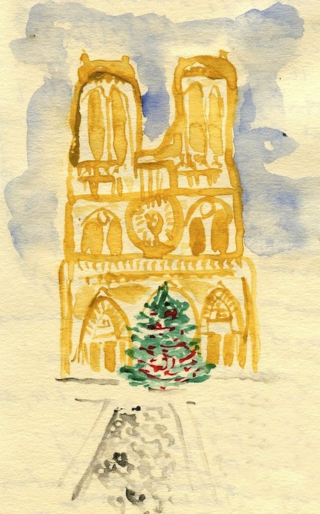 'notre dame with christmas tree' by david coggins for paris in winter (powerhouse books) | simple pretty