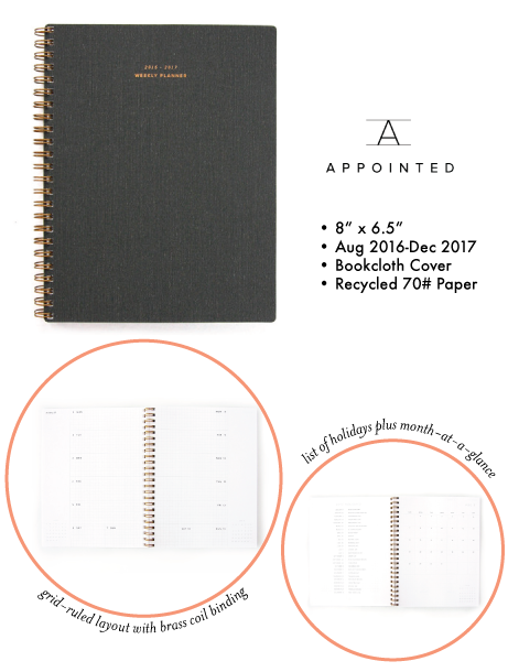 appointed weekly planner, 2017 | simple pretty